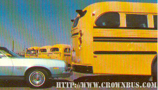 A photo of a Crown Supercoach being rear-ended by a car.